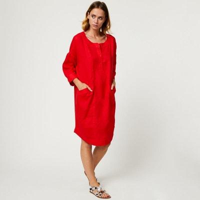 Robe tunique en lin unie MONOPRIX