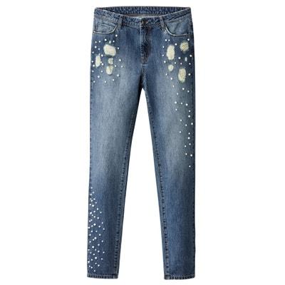 Jeans mom detalhes com pérolas Jeans mom detalhes com pérolas La Redoute Collections