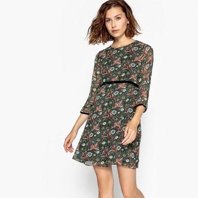 Vestido curto e largo, estampado às flores, mangas 3/4 Vestido curto e largo, estampado às flores, mangas 3/4 MOLLY BRACKEN