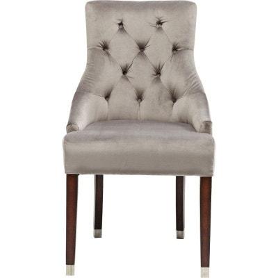 Chaise Avec Accoudoirs Prince Velours Gris Kare Design