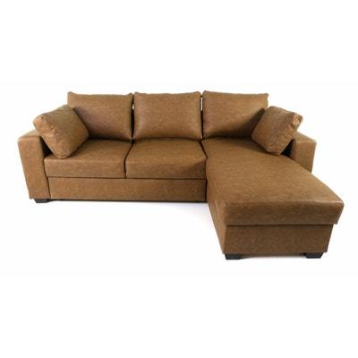 Canapé d'angle convertible simili-cuir chocolat Vintage INWOOD