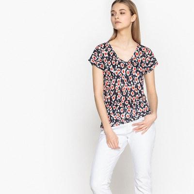 Tee shirt col v imprimé, manches courtes Tee shirt col v imprimé, manches courtes La Redoute Collections
