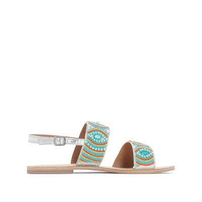 Sandálias em pele, com pérolas La Redoute Collections