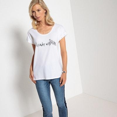 Beaded Fly Away with Me Slogan T-Shirt Beaded Fly Away with Me Slogan T-Shirt ANNE WEYBURN