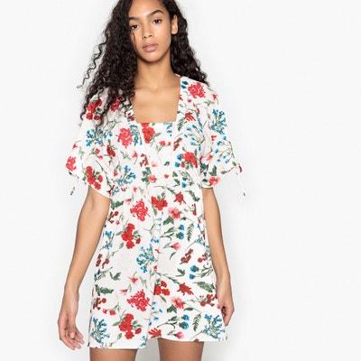 Korte rechte jurk met bloemenprint, korte mouwen Korte rechte jurk met bloemenprint, korte mouwen MOLLY BRACKEN