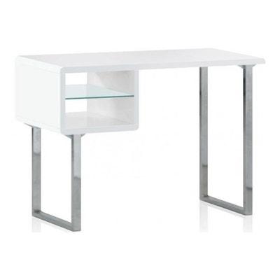 table de bureau blanche agatha declikdeco - Buffet Avec Table Retractable