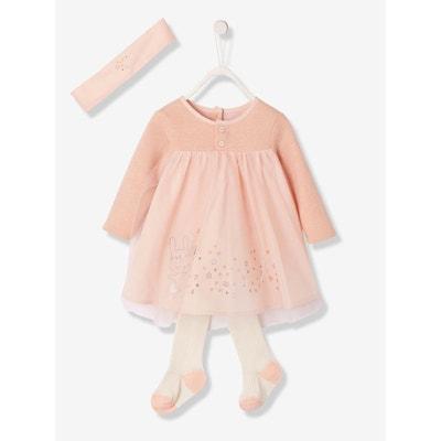 Ensemble de fête bébé robe voile et tulle + bandeau + collant Ensemble de fête bébé robe voile et tulle + bandeau + collant VERTBAUDET