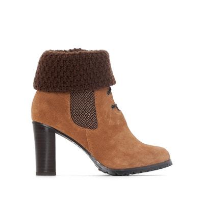 Boots in pelle con lacci e collo in lana La Redoute Collections
