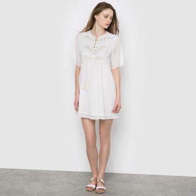 Vestido de mangas 3/4, con plastrón de bordados Vestido de mangas 3/4, con plastrón de bordados SUNCOO