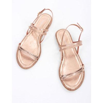 Sandales plates multibrides à strass MORGAN