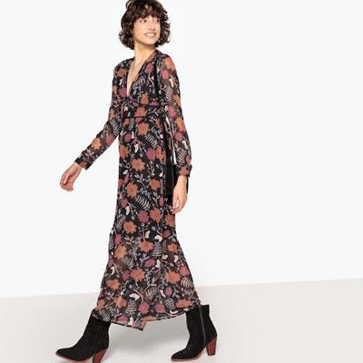 Платье длинное с цветочным рисунком, V-образным вырезом и длинными рукавами Платье длинное с цветочным рисунком, V-образным вырезом и длинными рукавами SEE U SOON