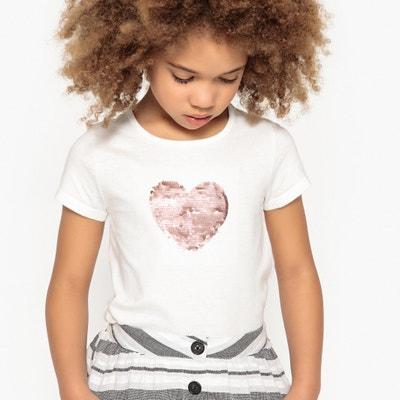 Camiseta con corazón de lentejuelas reversibles 3-12 años Camiseta con corazón de lentejuelas reversibles 3-12 años La Redoute Collections