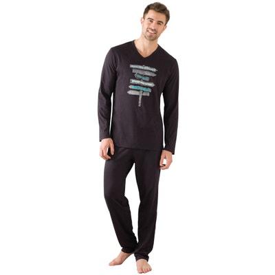 Langärmeliger Pyjama, Oberteil bedruckt ATHENA