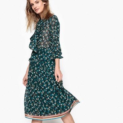 Floral Midi Pussy-Bow Dress SUNCOO