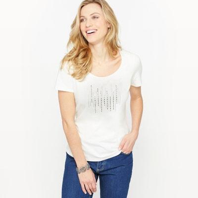T-shirt lisa com gola redonda, mangas curtas ANNE WEYBURN