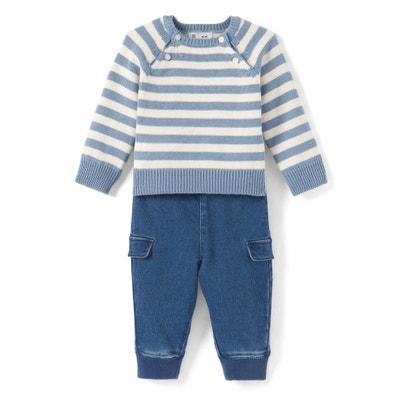 Baby-Set, runder Ausschnitt, lange Ärmel La Redoute Collections