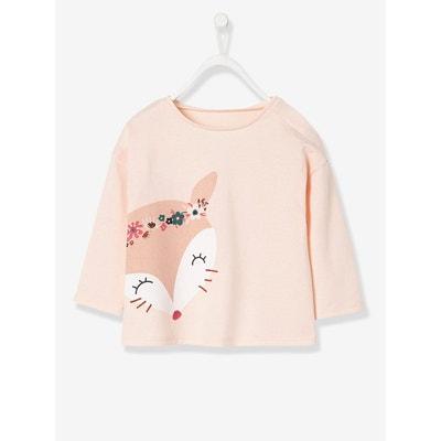 T-shirt bébé fille imprimé renard et brodé T-shirt bébé fille imprimé renard et brodé VERTBAUDET