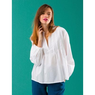 Blouse femme plis piqués voile de coton, LENI SOMEWHERE baccbef853f2