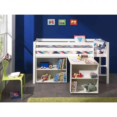 lit mezzanine blanc bureau bibliothque lit mezzanine blanc bureau bibliothque terre - Lit Superpose Avec Rangement