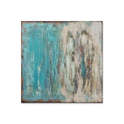 190c25f3077b9 ABSTRAIT 100x100 Peinture acrylique carrée Bleu effet veillis ABSTRAIT  100x100 Peinture acrylique carrée Bleu effet veillis