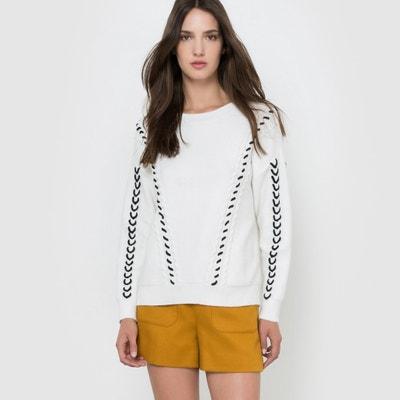 Пуловер с круглым вырезом и контрастным рисунком Пуловер с круглым вырезом и контрастным рисунком MOLLY BRACKEN