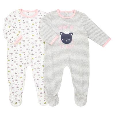 Komplet, 2 piżamy welurowe 0 m-cy - 3 latka Oeko Tex La Redoute Collections