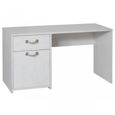 Bureau 1 tiroir 1 porte effet pin blanc BU3004 - Terre de Nuit TERRE DE NUIT