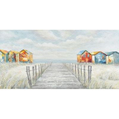 Tableau MARINE cabines de plage multicolores et horizon 140x70cm Tableau MARINE cabines de plage multicolores et horizon 140x70cm PIER IMPORT