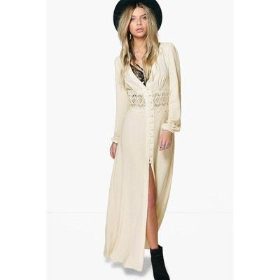 collection robe maxi à taille en dentelle et manches boutonnées pour collection robe maxi à taille en dentelle et manches boutonnées pour BOOHOO