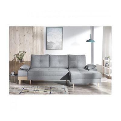 Canape d'angle convertible SVEN I droit (pieds et accoudoir en bois) Enjoy gris clair BOBOCHIC