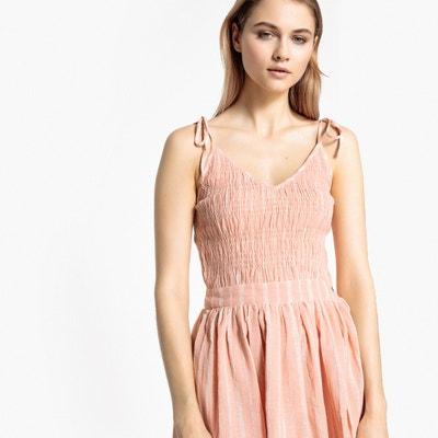 Ausgestelltes Kleid mit Streifenmuster und Trägern zum Binden Ausgestelltes Kleid mit Streifenmuster und Trägern zum Binden La Redoute Collections