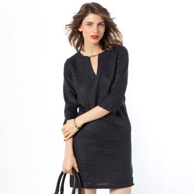 Prosta sukienka z rękawem 3/4, lniana Prosta sukienka z rękawem 3/4, lniana La Redoute Collections