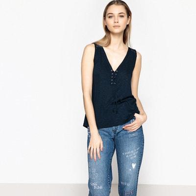 T-shirt lisa com decote em V, sem mangas BEST MOUNTAIN