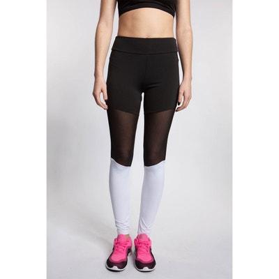4c7d40ec04fe4 Legging de sport bi-color empiècement résille Legging de sport bi-color  empiècement résille