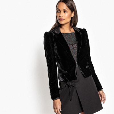 Veste en velours noir femme