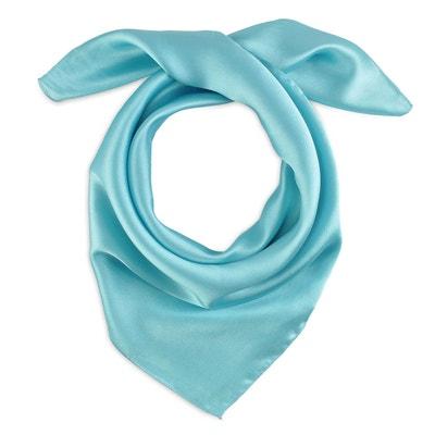 50649625b38c Foulard carré Eazy Bleu turquoise ALLEE DU FOULARD