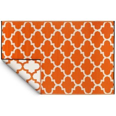 tapis intrieur extrieur tangier orange et blanc 180 x 120 cm jardindeco - Tapis Orange