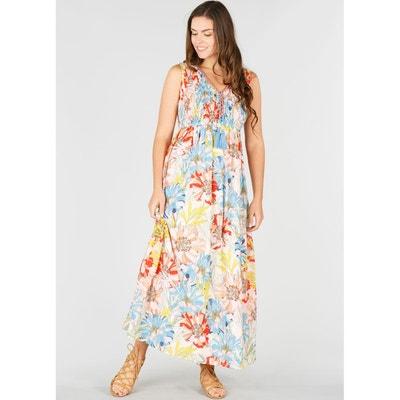 Robe sans manches longue évasée imprimée fleurs Robe sans manches longue  évasée imprimée fleurs DERHY a4652b860640