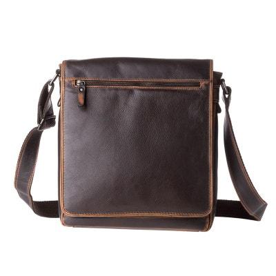 Grand sac pour homme à bandoulière en cuir véritable porté épaule Messenger  avec rabat Grand sac 900556d74fc2
