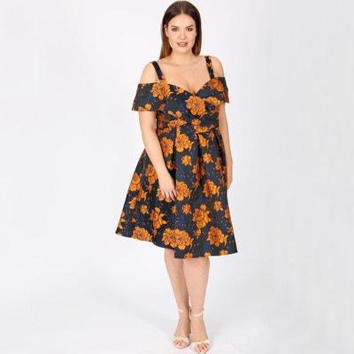 Cold Shoulder Floral Printed Jacquard Dress Cold Shoulder Floral Printed Jacquard Dress LOVEDROBE