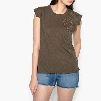 T-shirt ricamata, motivi piume e perle MARION T-shirt ricamata, motivi piume e perle MARION BERENICE