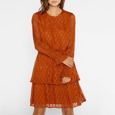 Платье с круглым вырезом и складками на манжетах Платье с круглым вырезом и складками на манжетах YAS