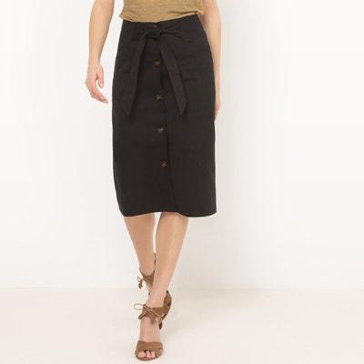 Falda recta abotonada, con cinturón anudado y largo por la rodilla Falda recta abotonada, con cinturón anudado y largo por la rodilla La Redoute Collections