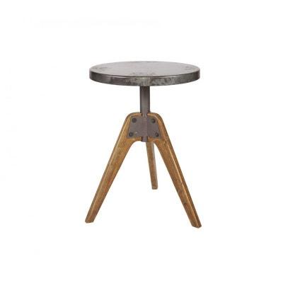 Table basse industrielle ronde bois et métal Disc DRAWER