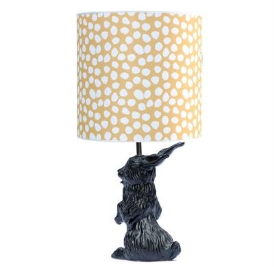 JEANNOT LAPIN - Lampe à poser Céramique Noir et abat-jour Tissu Pois H60cm DOMESTIC
