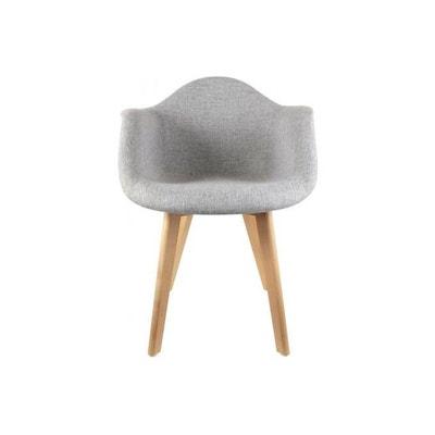 Chaise scandinave avec accoudoir tissu gris NORWAY DECLIKDECO