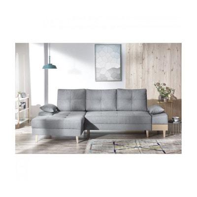 Canape d'angle convertible SVEN I gauche (pieds et accoudoir en bois) Enjoy gris clair BOBOCHIC
