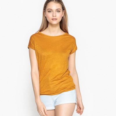T-shirt lniany basic, z okrągłym dekoltem La Redoute Collections