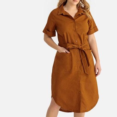 962695370e3c5 Robe chemise en lin mélangé, longueur 3 4 Robe chemise en lin mélangé,