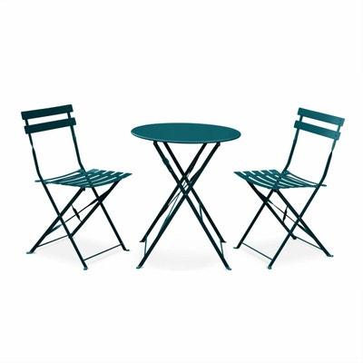 Salon De Jardin Bistrot Pliable Emilia Rond Bleu Canard Table 60cm Avec 2 Chaises